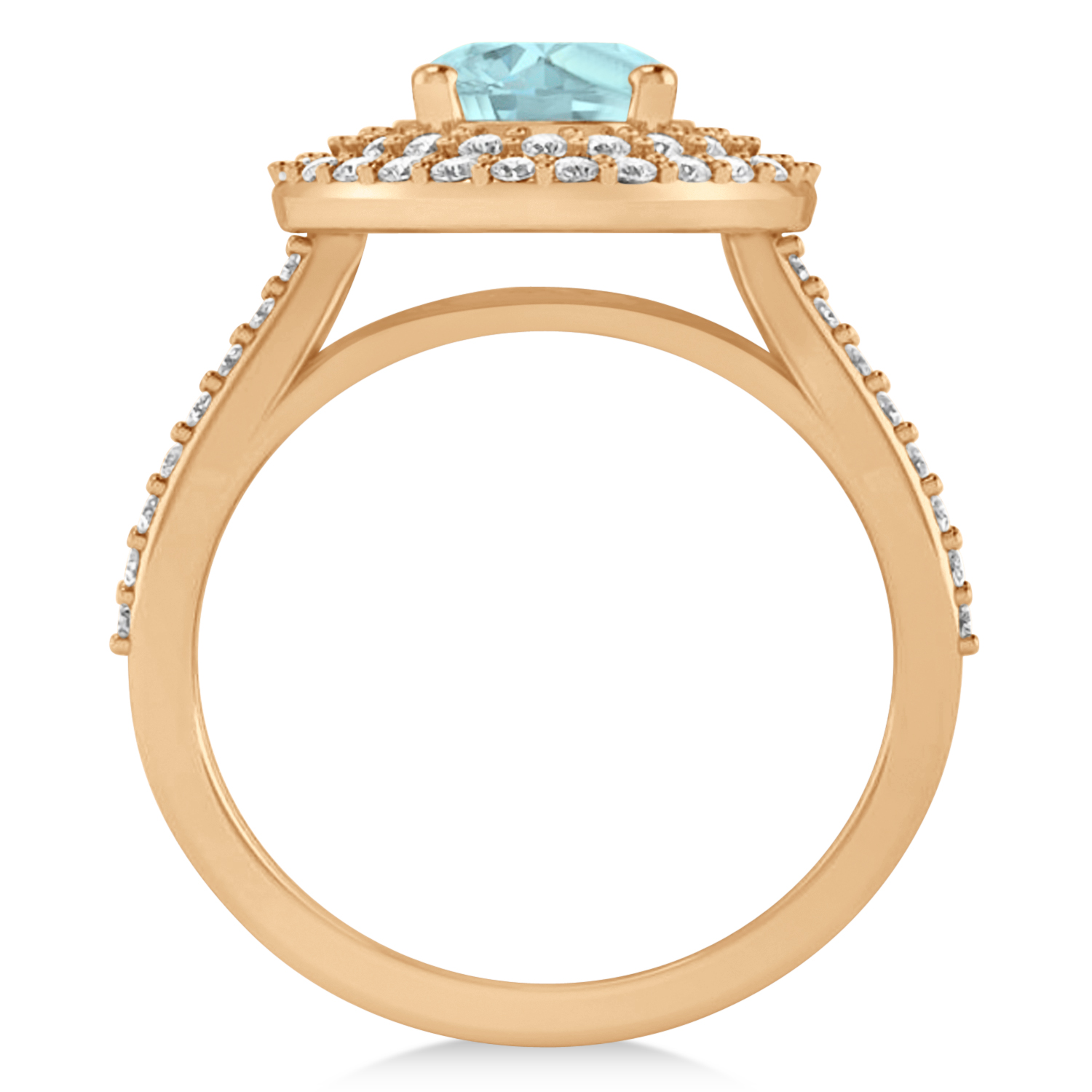 Double Halo Aquamarine Engagement Ring 14k Rose Gold 2 27ct Allurez