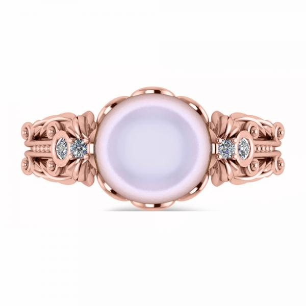 Diamond & Freshwater Pearl Fashion Ring in 14k Rose Gold (10mm) (0.10ct)