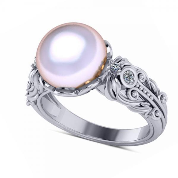 Diamond & Freshwater Pearl Fashion Ring in 14k White Gold (10mm) (0.10ct)