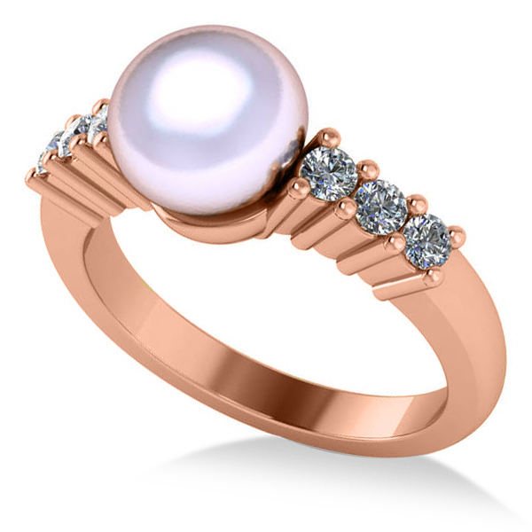 Pearl & Diamond Accented Engagement Ring 14k Rose Gold 8mm