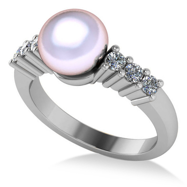 Pearl & Diamond Accented Engagement Ring 14k White Gold 8mm (0.30ct)