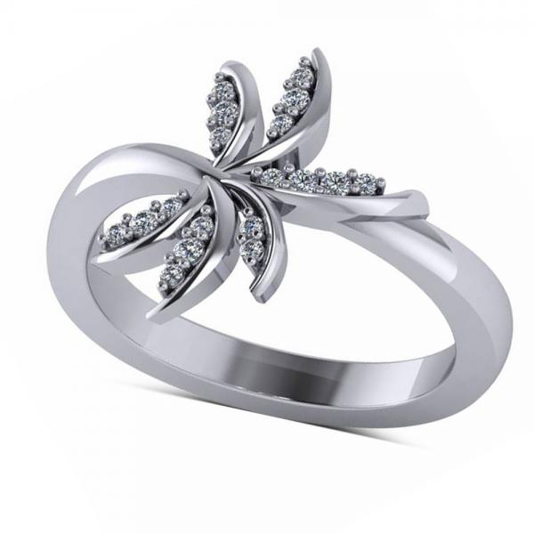 Diamond Accented Palm Tree Fashion Ring in 14k White Gold (0.12ct)