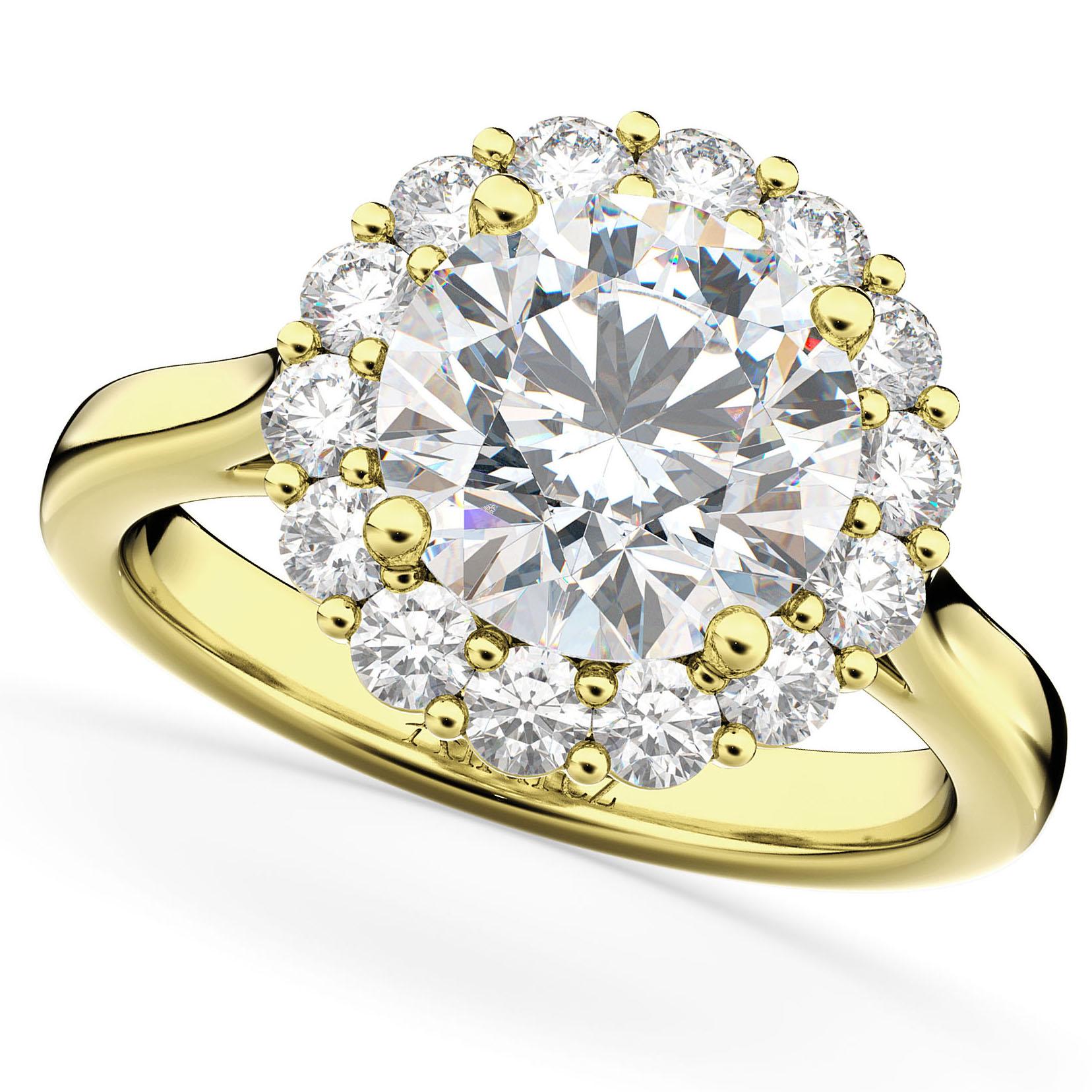 Round Halo Diamond Engagement Ring 14K Yellow Gold (3.20ct ...
