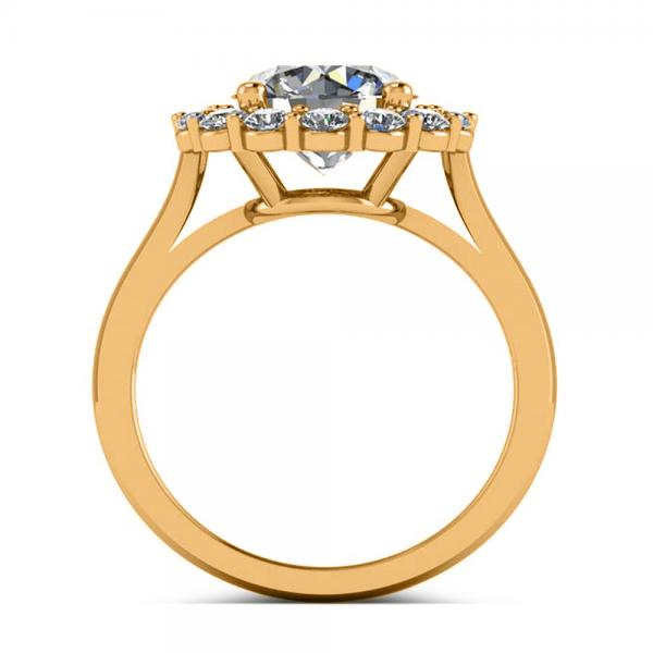 Diamond Accented Halo Engagement Ring in 18k Yellow Gold (3.20ct)