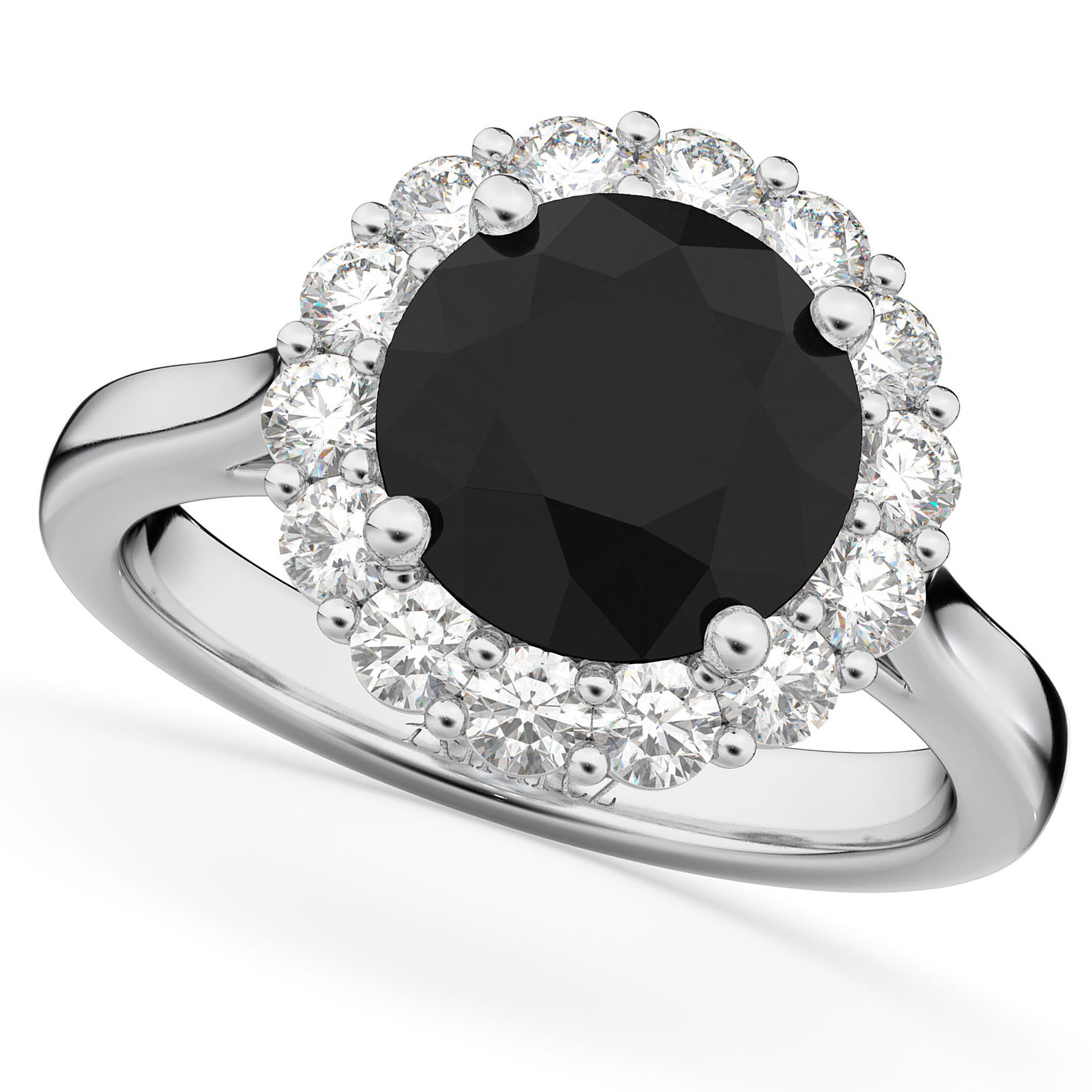 round black diamond diamond engagement ring 14k white gold - Black Diamond Wedding Rings For Him