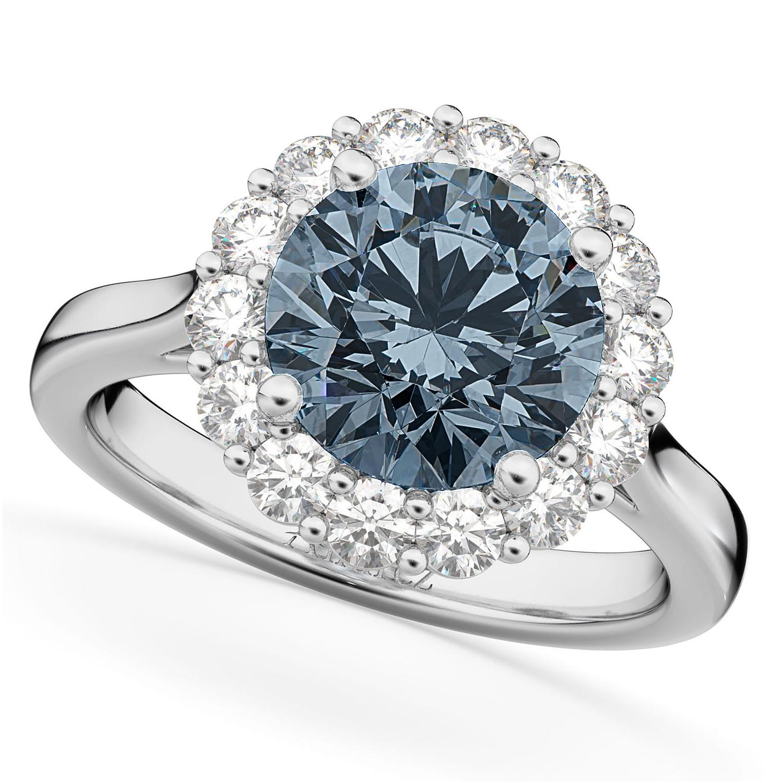 Halo Round Gray Spinel & Diamond Engagement Ring 14K White Gold 3.70ct