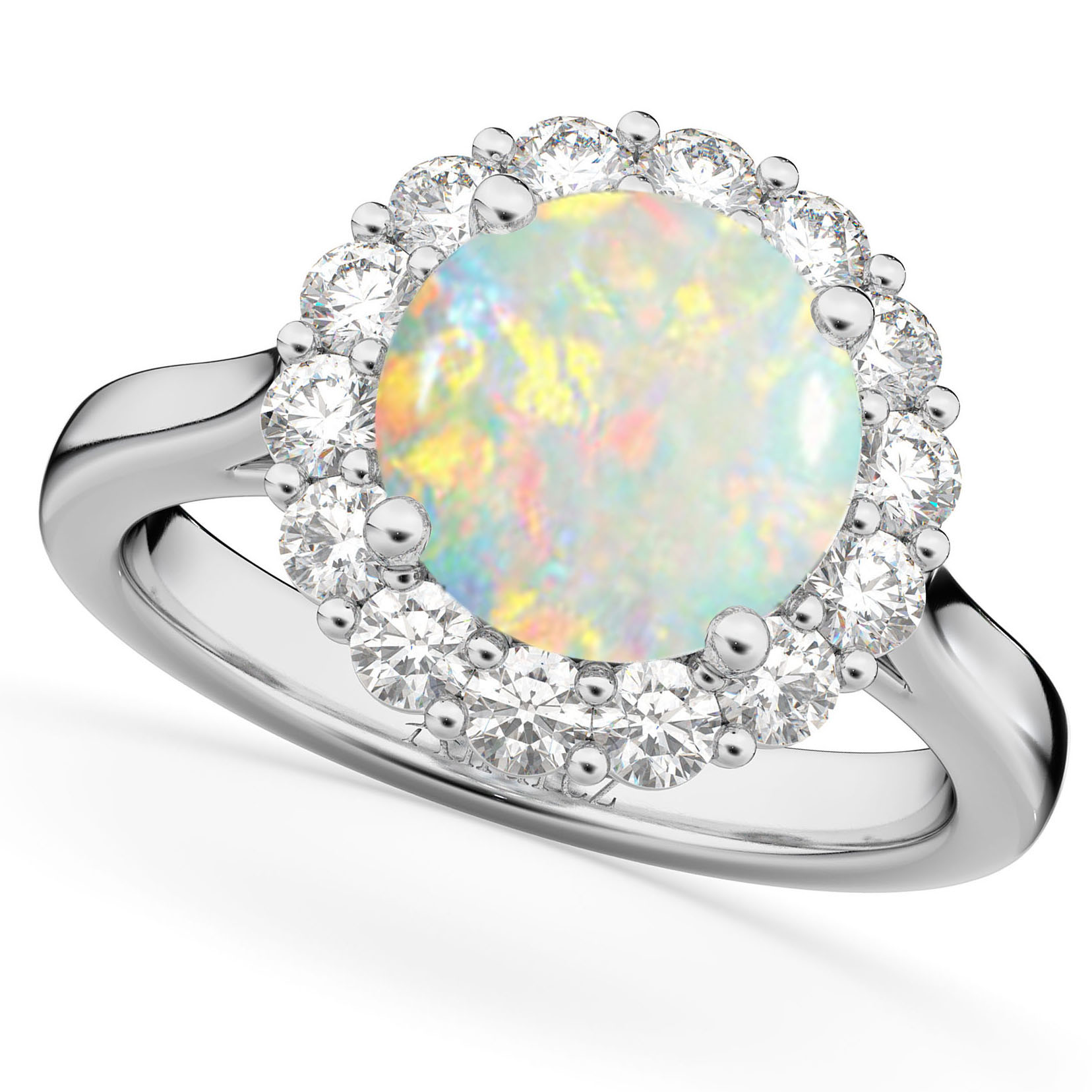 halo opal engagement ring 14k white gold 2