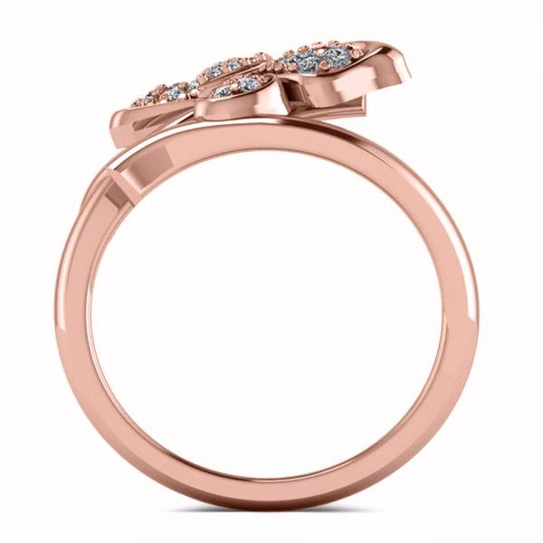 Diamond Accented Butterfly Fashion Ring in 14k Rose Gold (0.28ct)
