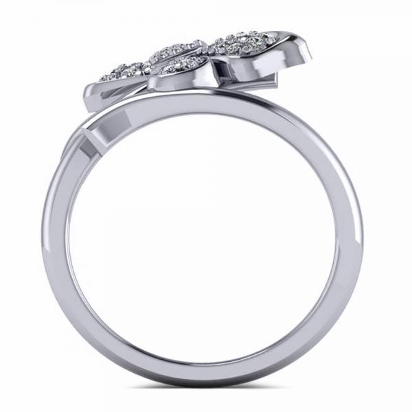 Diamond Accented Butterfly Fashion Ring in 14k White Gold (0.28ct)