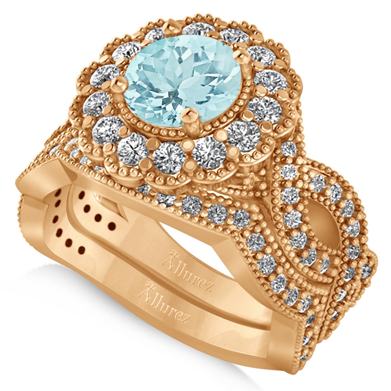 Wedding Flowers And Rings: Diamond & Aquamarine Flower Halo Bridal Set 14k Rose Gold