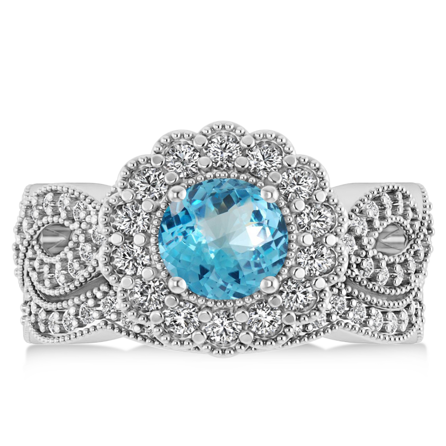 Diamond & Blue Topaz Flower Halo Bridal Set 14k White Gold (2.22ct)