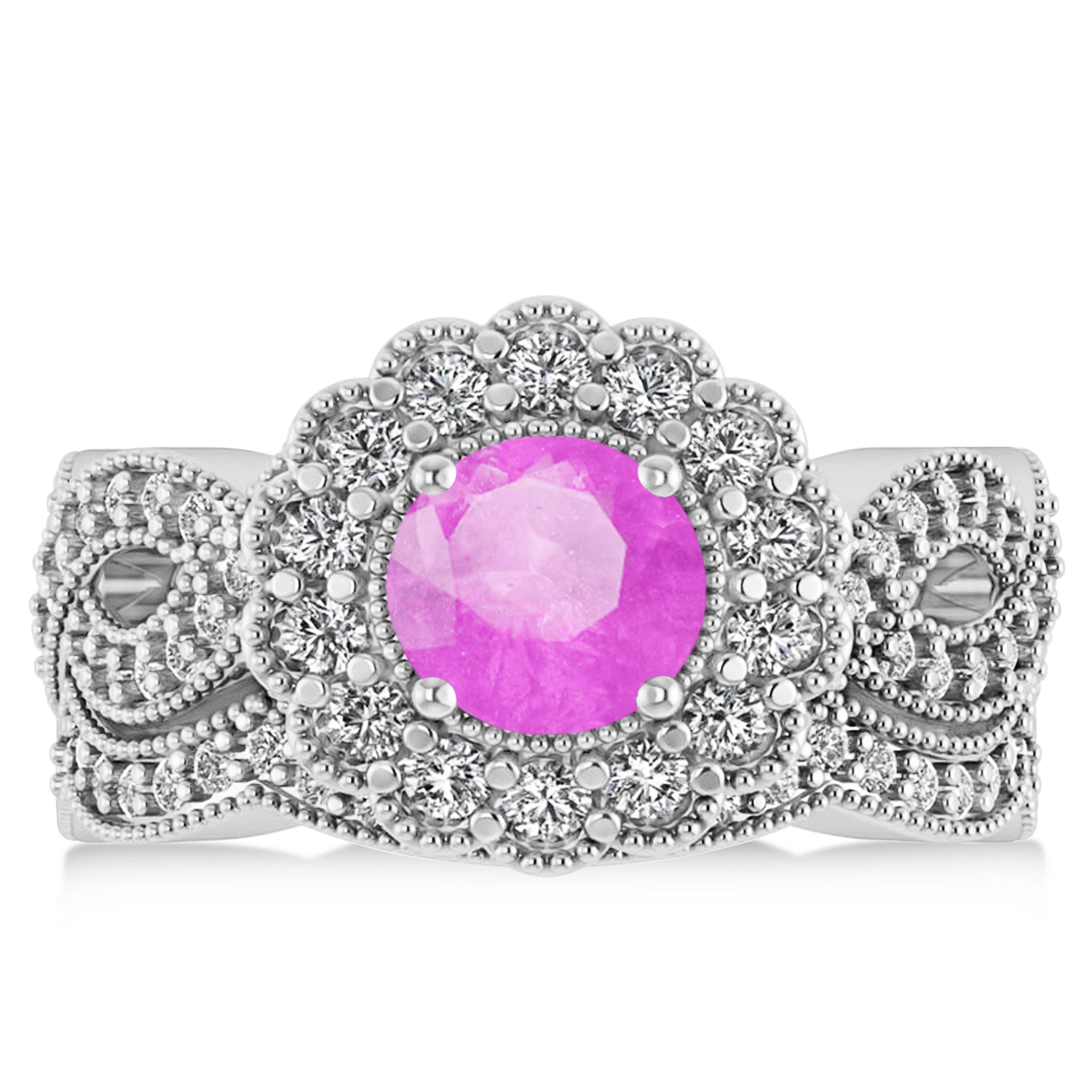 Diamond & Pink Sapphire Flower Halo Bridal Set 14k White Gold 2.22ct