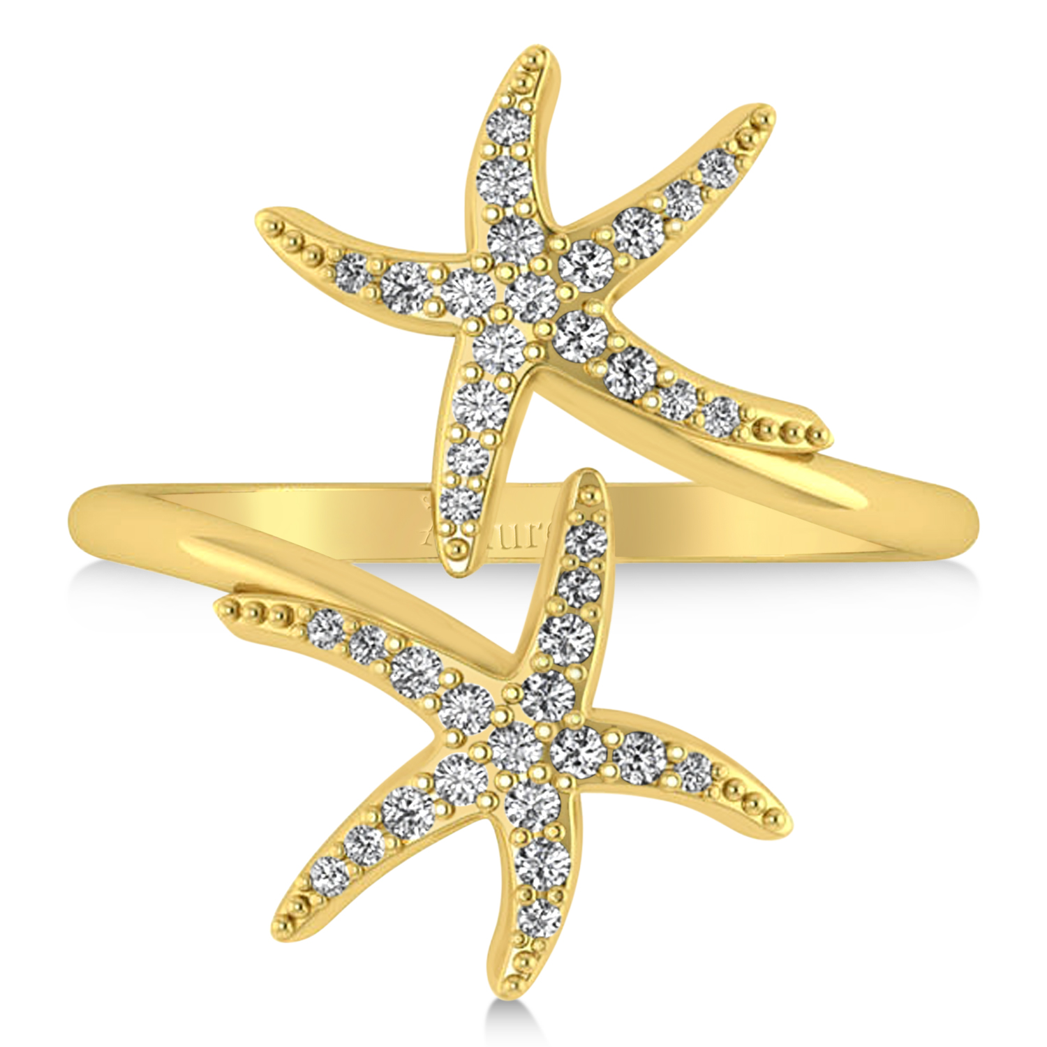 Diamond Double Starfish Fashion Ring 14k Yellow Gold (0.30ct)