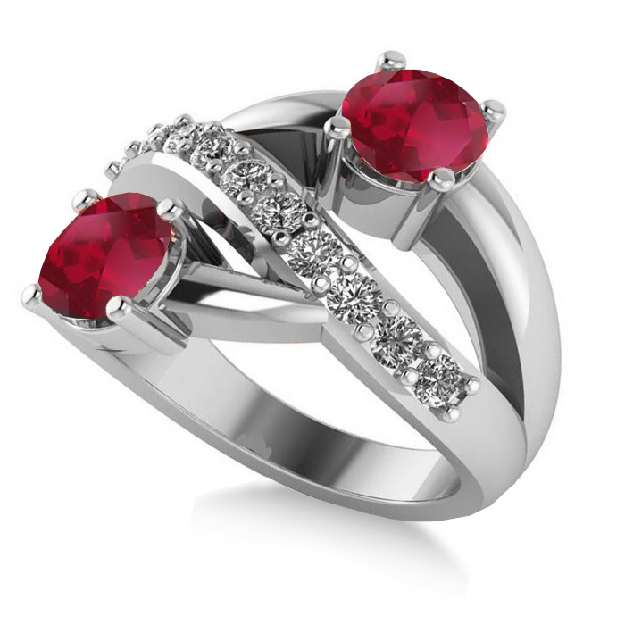 4ed5a01aaff8 Ruby   Diamond Ever Together 2-Stone Ring 14k White Gold 2ct - AD1983
