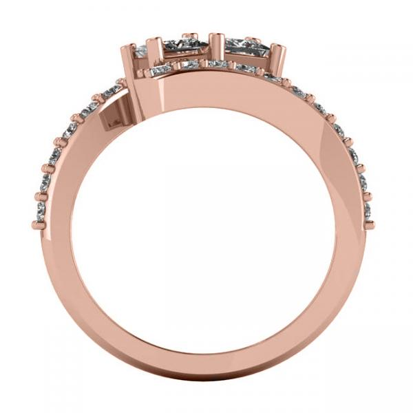 Princess Cut Two-Stone Diamond Ring w/ Accents 14k Rose Gold (1.24ct)