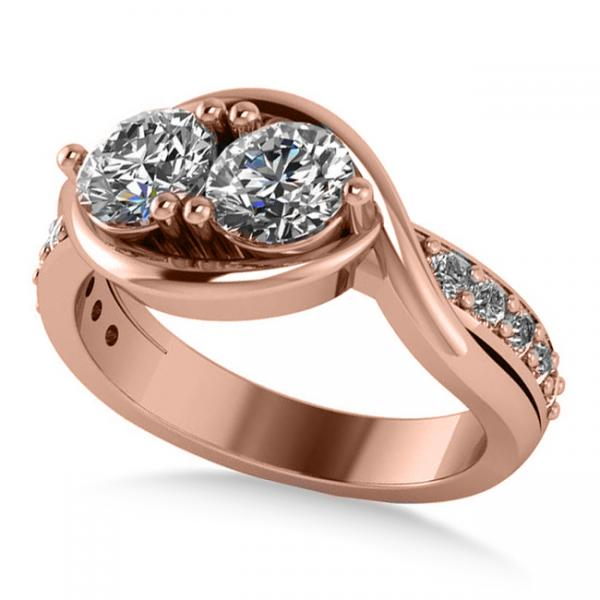 Diamond Accented Bypass Two Stone Ring 14k Rose Gold (1.50ct)