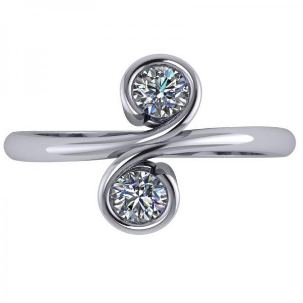 Diamond Solitaire Two Stone Swirl Ring 14k White Gold (0.50ct)