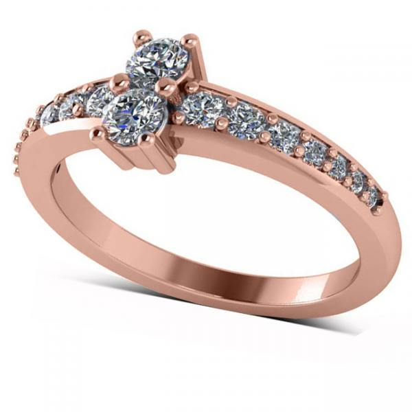 Diamond Accented Two Stone Ring 14k Rose Gold (0.51ct)