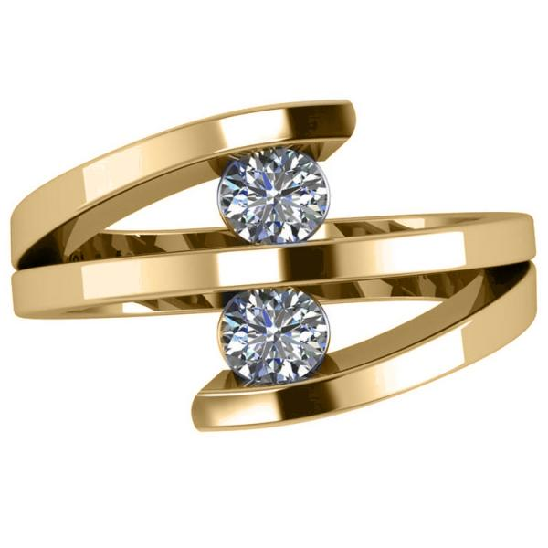 Diamond Triple Shank Two Stone Ring 14k Yellow Gold (0.66ct)
