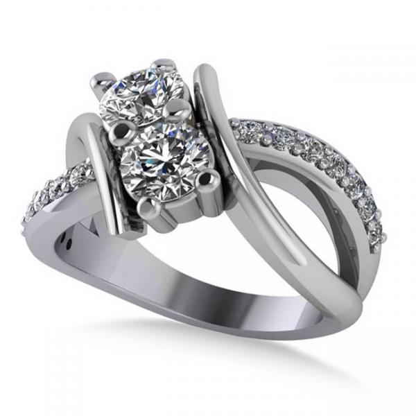 Diamond Bypass Split Shank Two Stone Ring 14k White Gold (1.28ct)