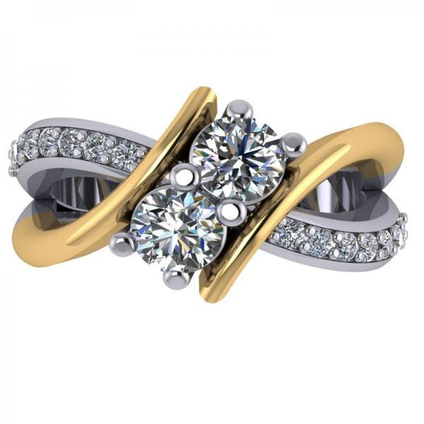 Diamond Bypass Split Shank Two Stone Ring 14k Two Tone Gold (1.28ct)
