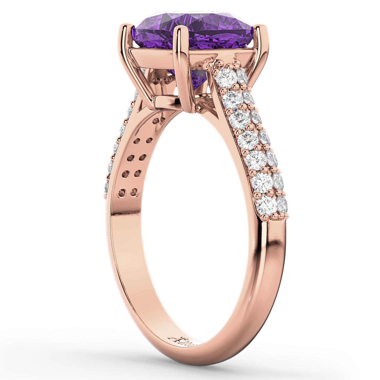 Cushion Cut Amethyst & Diamond Engagement Ring 18k Rose Gold 4 42ct