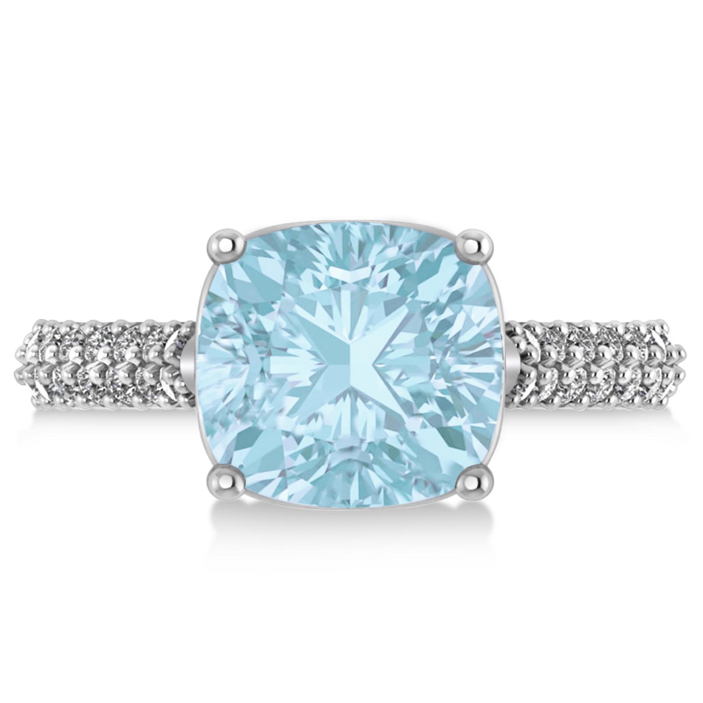 cushion cut aquamarine amp diamond engagement ring 14k white