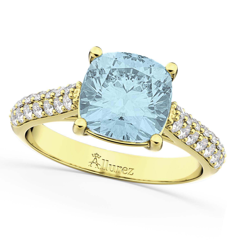 Cushion Cut Aquamarine & Diamond Engagement Ring 14k Yellow Gold 4 42ct