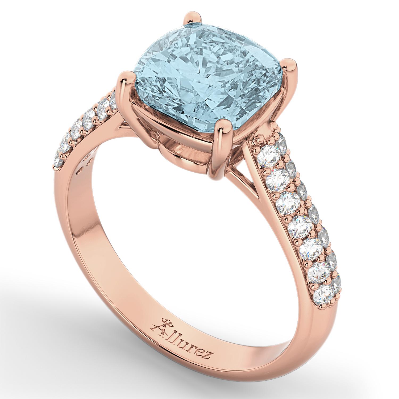 Cushion Cut Aquamarine & Diamond Engagement Ring 18k Rose Gold 4 42ct