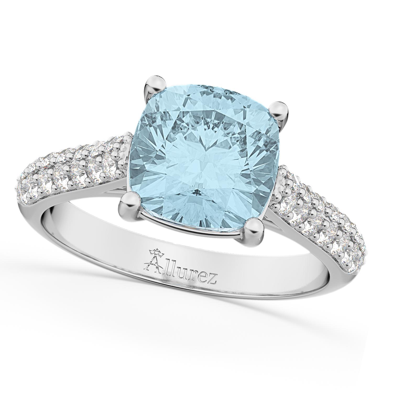 Cushion Cut Aquamarine Ring White Gold