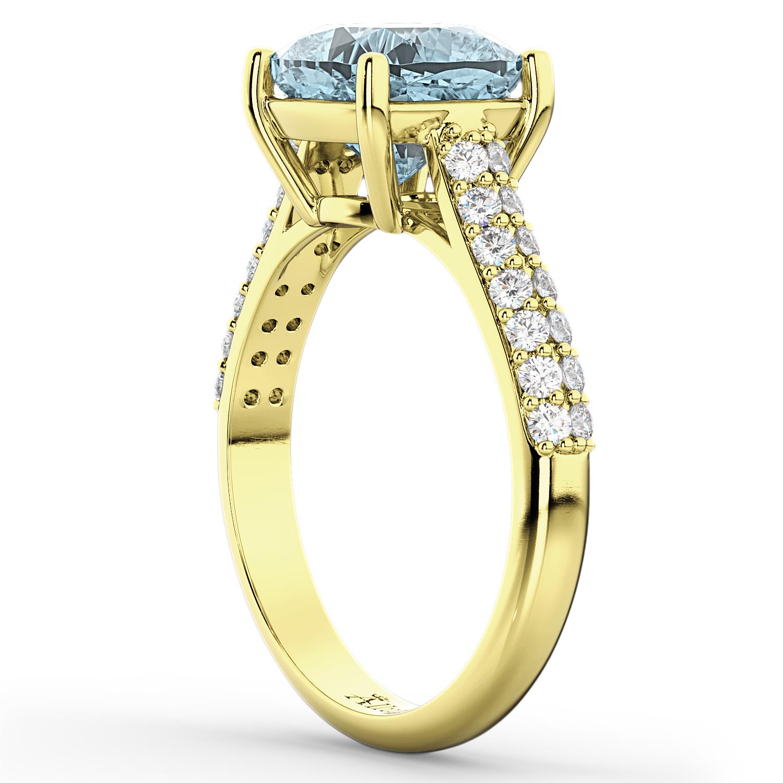 cushion cut aquamarine amp diamond engagement ring 18k