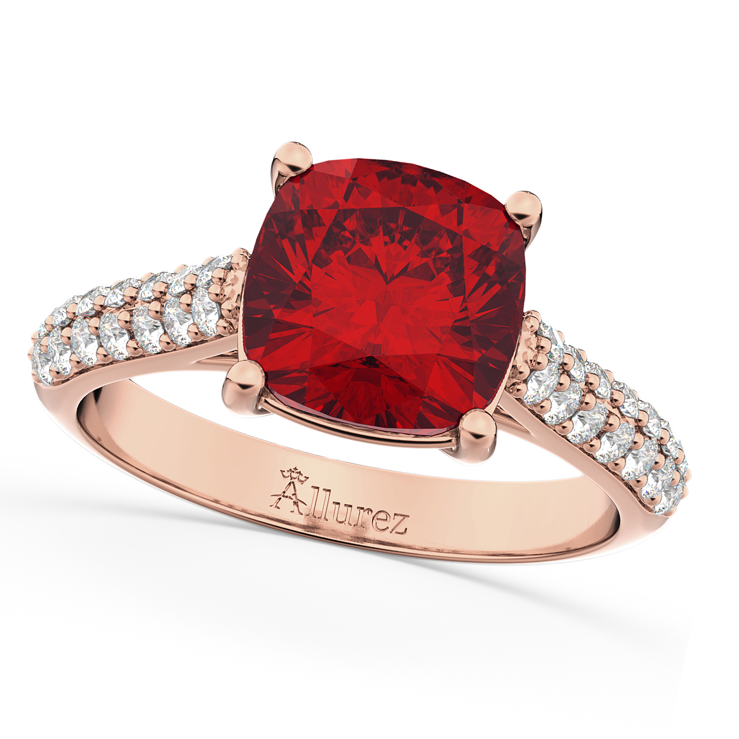 Cushion Cut Ruby & Diamond Engagement Ring 14k Rose Gold (4.42ct)