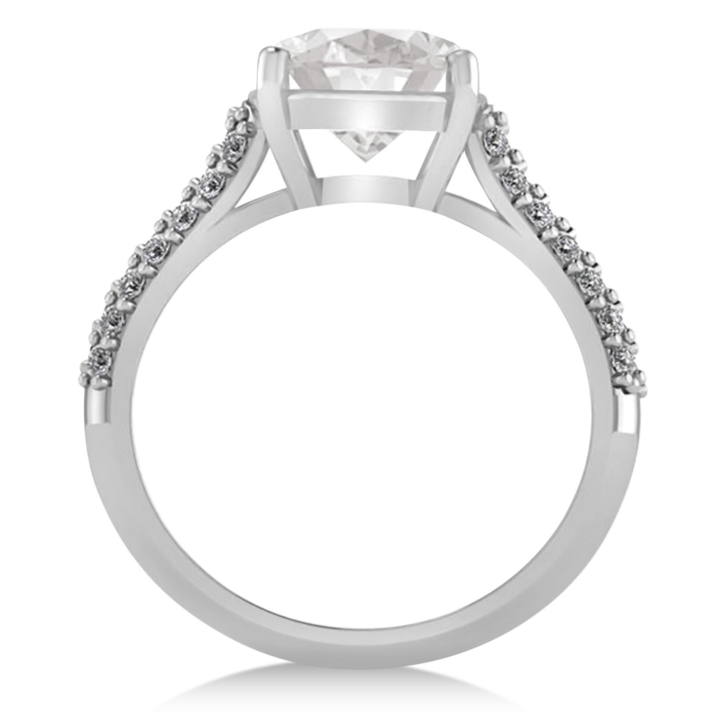 cushion cut white topaz engagement ring 14k