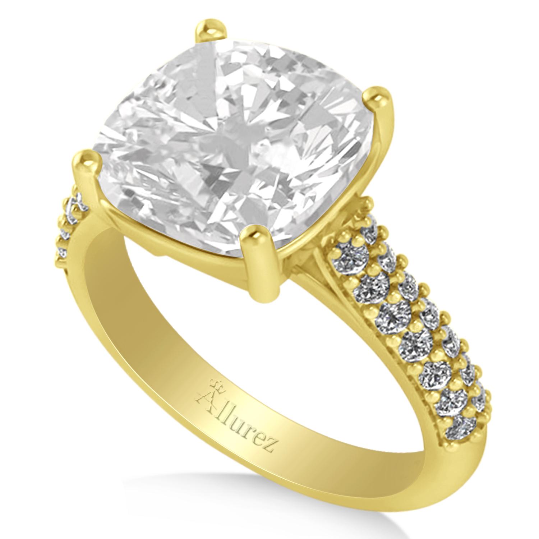 Cushion Cut White Topaz & Diamond Engagement Ring 14k Yellow Gold 4 42ct