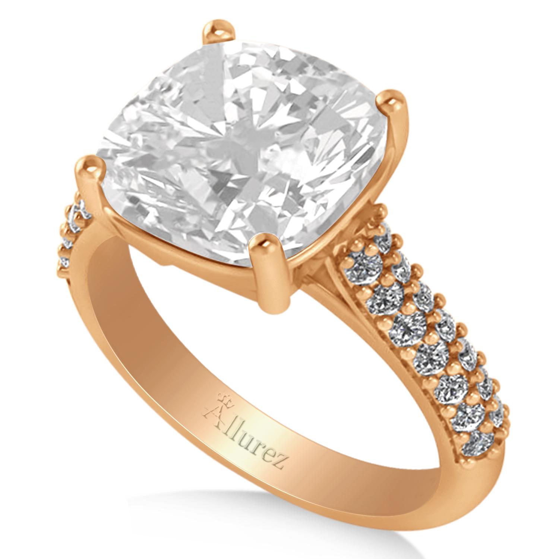 cushion cut white topaz diamond engagement ring 18k rose. Black Bedroom Furniture Sets. Home Design Ideas