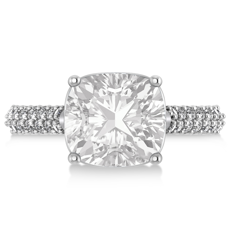 cushion cut white topaz engagement ring 18k