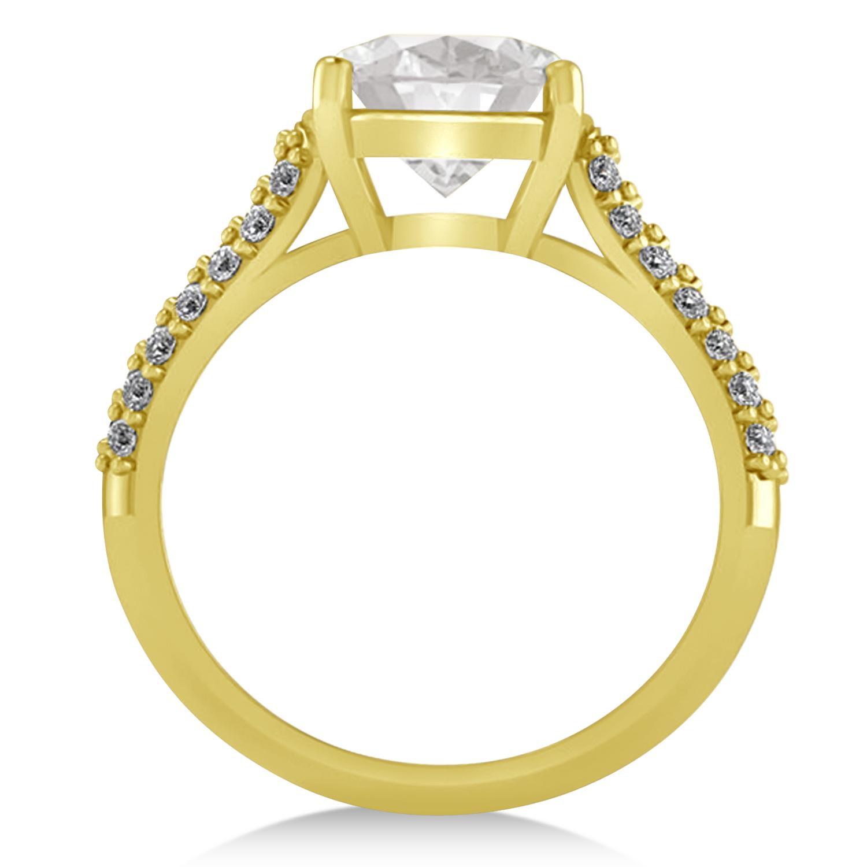Cushion Cut White Topaz & Diamond Engagement Ring 18k Yellow Gold 4 42ct