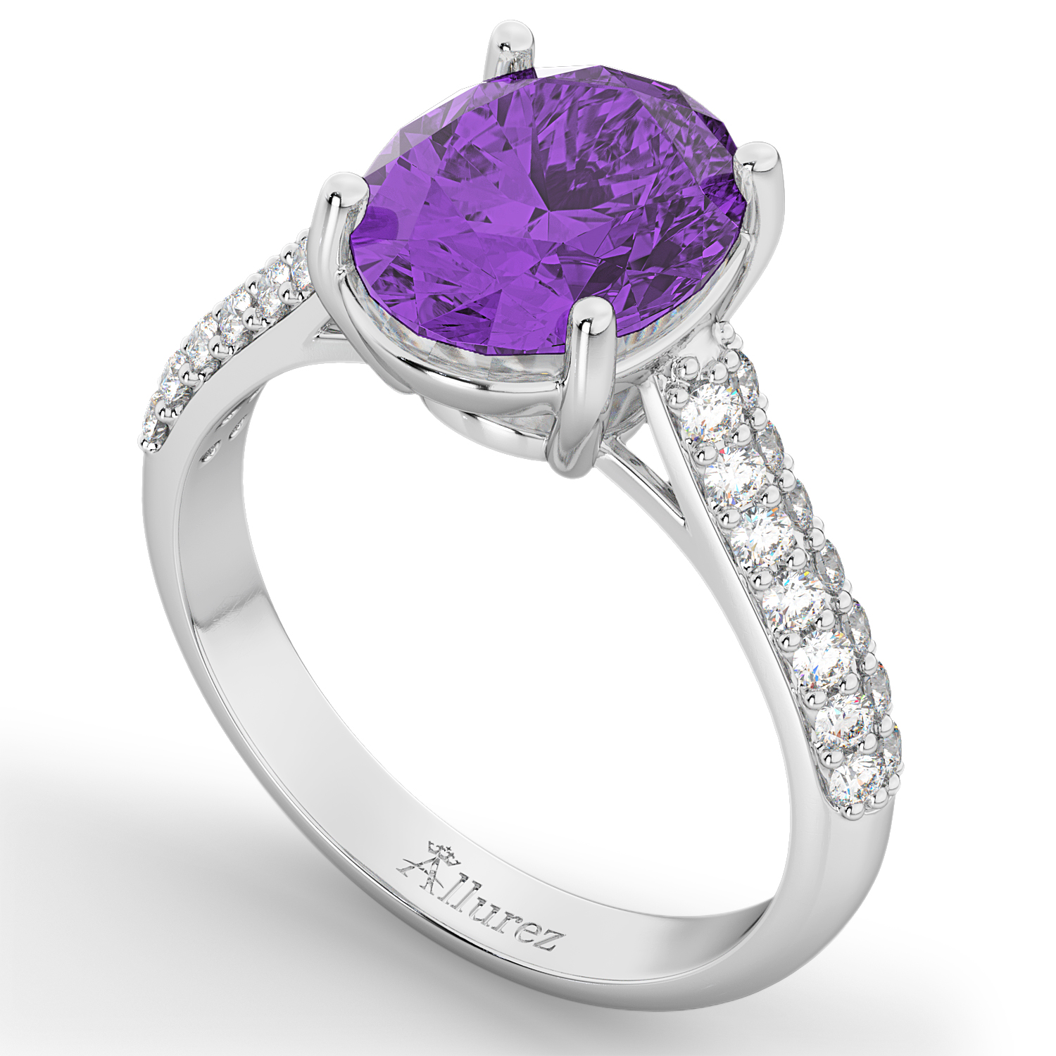 oval amethyst engagement ring 18k white gold 4 42ct