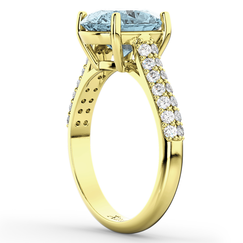 oval aquamarine engagement ring 14k yellow gold