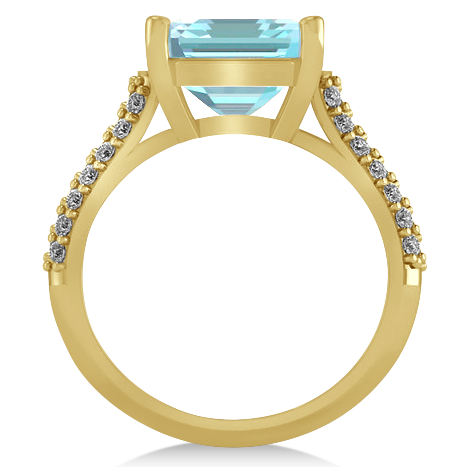 Oval Aquamarine & Diamond Engagement Ring 14k Yellow Gold