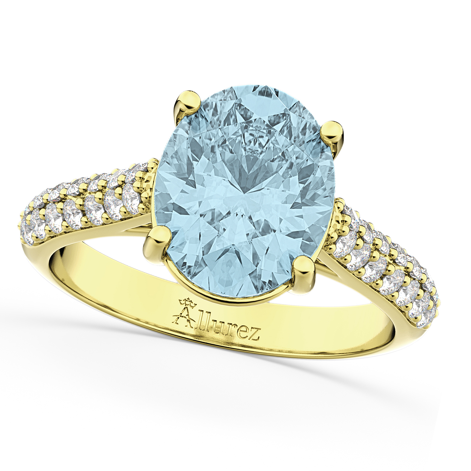 oval aquamarine engagement ring 18k yellow gold