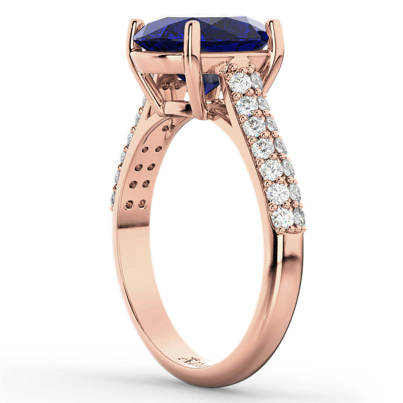 Oval Blue Sapphire & Diamond Engagement Ring 18k Rose Gold ...