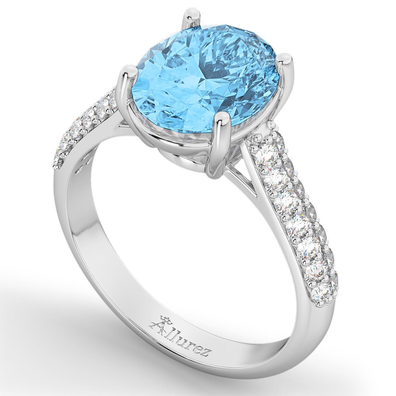 Oval Blue Topaz & Diamond Engagement Ring 14k White Gold 4 42ct