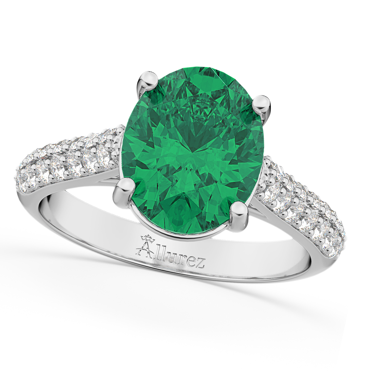 Oval Emerald & Diamond Engagement Ring 14k White Gold 4