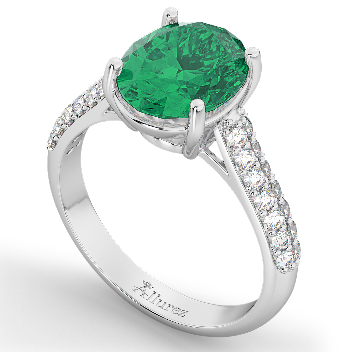 oval emerald engagement ring 14k white gold 4