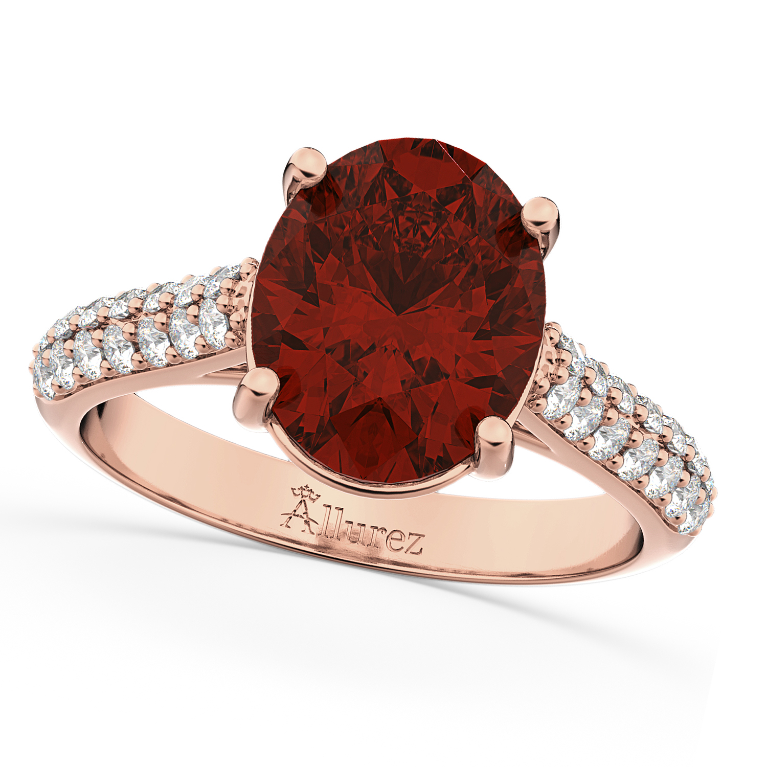Oval Garnet & Diamond Engagement Ring 14k Rose Gold (4.42ct)