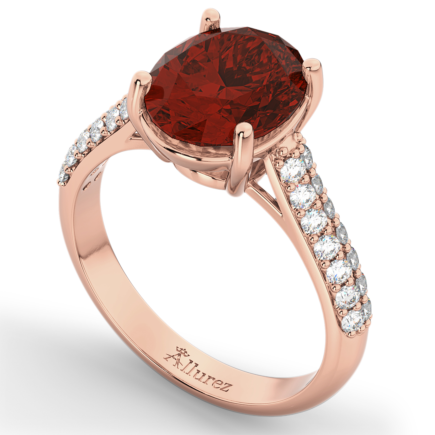 Oval Garnet & Diamond Engagement Ring 18k Rose Gold (4.42ct)