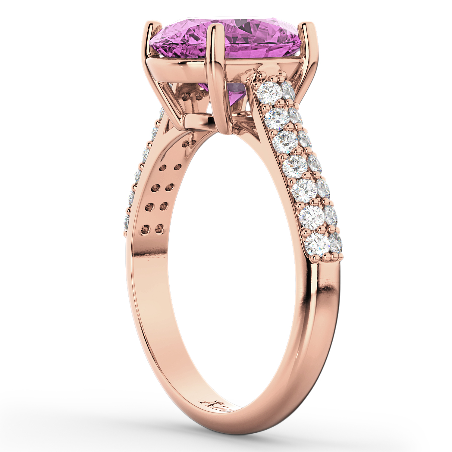 Oval Pink Sapphire & Diamond Engagement Ring 14k Rose Gold ...