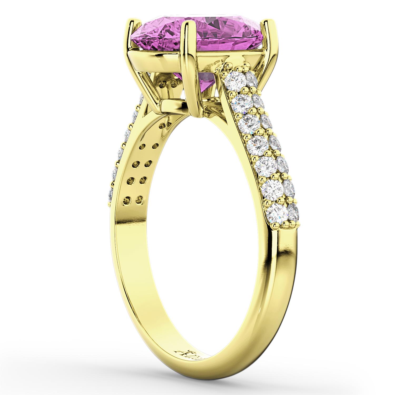 Oval Pink Sapphire & Diamond Engagement Ring 14k Yellow ...