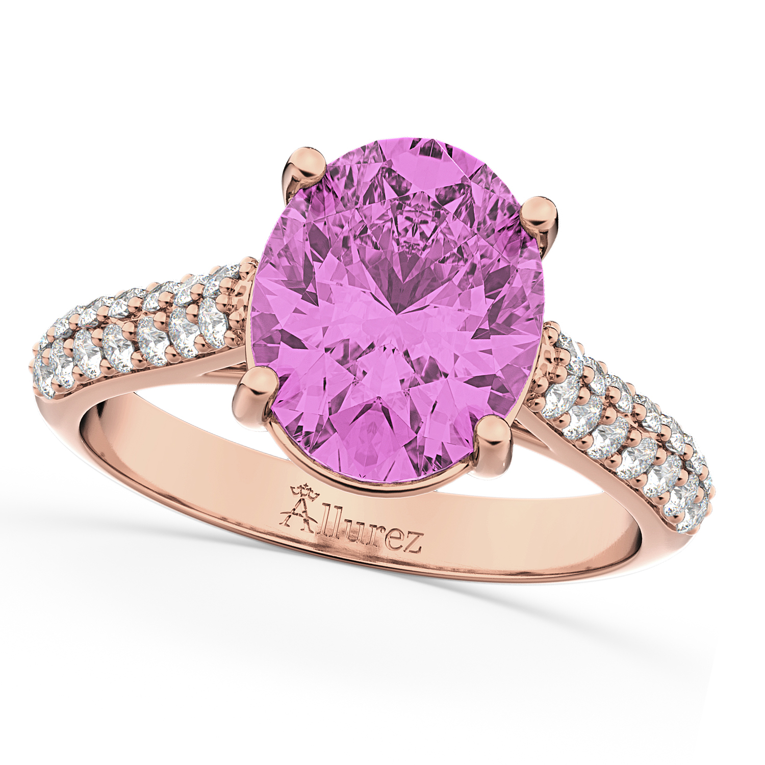 Oval Pink Sapphire & Diamond Engagement Ring 18k Rose Gold ...